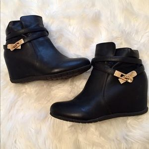 Black Wedge Booties with Gold Accent